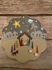 Coton Colors Nativity Platter Attachment Manger Scene Christmas
