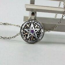 Wiccan Pentagram Witch Pendant Necklace humus aqua aura caminus spiritus