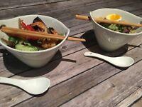 4345  Set of 2 Porcelain Ramen Noodle 20 0z. Soup Bowls