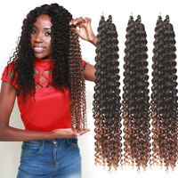 "18"" Ombre Water Wave Curly Weaves Long Braided Crochet Synthetic Hair Extensions"