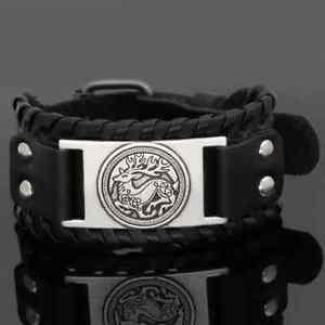 Black Laced Celtic Deer Wristband Bracelet Armlet Medieval Animal Viking Nordic