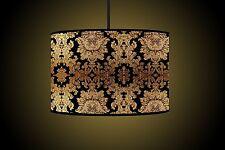 30CM Black Gold Drum Lampshade Handmade Printed Fabric Floor Lamp shade Ceiling
