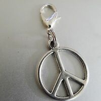 Peace Sign Symbol Medallion Silver Round Pendant  Clip Charm pendant  bhumi 1""