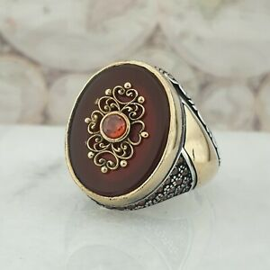 925 Sterling Silver Mens Ring Red Agate Gemstone Handmade Turkish 15.70 gr