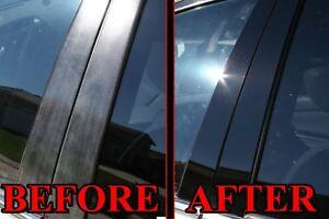 Black Pillar Posts for Kia Rio (4dr) 12-15 6pc Set Door Trim Piano Cover Kit
