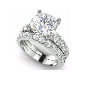 3.50Ct White Round Diamond Engagement Wedding Ring Solid Set 925 Sterling Silver