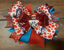 Dr. Seuss Ribbon Stacked Boutique Hair Bow Girl Cat In The Hat Clip