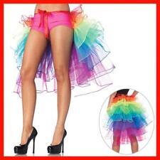 Women Multicolor Tutu Bustle Skirt Layered Tutu Organza Rainbow Long Tail Skirts