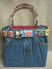 FUN & FUNKY Jordache BLUE JEAN HANDBAG w/NEW YORK CITY BELT & BEADED HANDLES