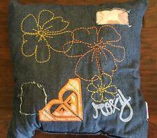 "New Roxy Chameleon Denim Blue Orange Floral 16"" Square Decorative Throw Pillow"