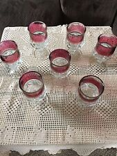 Vintage ruby flashed King's Crown pattern glass stemware, set of 7 wine glasses