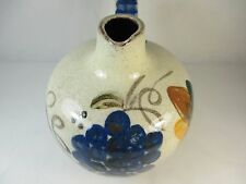 Vintage Handpainted Grapes Leaves Glazed Clay Olive Oil Jug Decanter Short Round