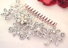 Vintage Style Platinum Tone Crystal Pearl Hair Comb Fascinator Wedding Bridal