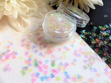 Nail Art Sparkle Clear *Iridescent Hearts* Valentines Pot Spangle Glitter Tip V4