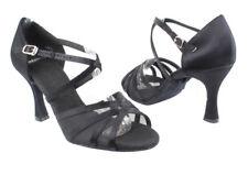 Women's Black Satin Salsa Ballroom Dance Shoes Heel 2.5 and 3 Very Fine SERA1605