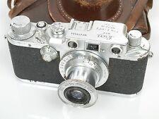 Leica III C Sharkskin con with Elmar 3,5/50 bolsa Leica leather case
