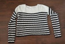 WOMEN'S FOREVER 21 SWEATER CROPPED TOP SIZE S BLACK WHITE STRIPPED PULLOVER