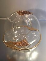 Four (4) small glass bowls with gold edge and decorative gold wings