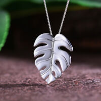 Elegant Solid 925 Sterling Silver Jewelry Plant Monstera Leaf Pendant for Women