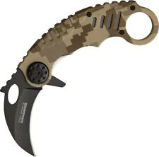 M4084 Karambit Assisted Open Black Tan Digital Camo Folding Knife Pocket Folder