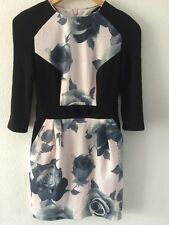Love Label Jersey Fitted Dress Size 10 Black Grey Pink Floral <R6829