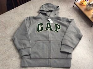 New Boys Gap Full Zip-Up Hoodie Gray/Green, Large (10)