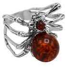 925 Solid Pure Sterling Silver Cognac Baltic Amber Spider Halloween Large Ring
