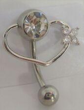 Vch Clit Clitoral Hood Ring 14 gauge Clear Gem Pressure Ball Heart Flower Hoop