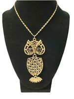 "Coventry Vintage Large Gold Tone Night Owl Necklace Jointed Body 4"" 1974"