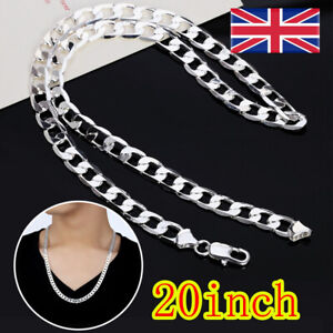 Men 925 sterling Thick Silver 4MM solid Men Curb Chain Necklace 20'' UK
