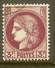 "FRANCE TIMBRE STAMP N°376 ""TYPE CERES, 3 F LILAS ROSE"" OBLITERE TB"