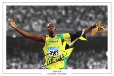 USAIN BOLT 2008 OLYMPICS AUTOGRAPH SIGNED PHOTO PRINT 1