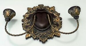NWT ORNATE HEAVY WALL SCONCE DUAL CANDELABRA GOLD & BROWN SHIELD SHAPE