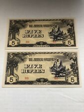 Set Of 2 Five Rupees Japan Occupacation Uncerculated WWII