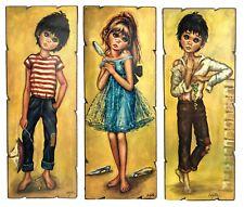3 VTG Wooden Pictures Idylle Falconi Idylle Jolylle Big Eyed Children Boys Girl