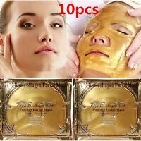 10pcs Premium Collagen Crystal Face Masks Anti Ageing Skin Care Gold