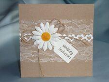 pocket wedding invitation natural daisy trimmed (Fred)