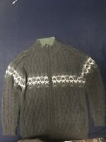 Aran Crafts Irish Merino Wool Knit Green FULL Zip SWEATER/JUMPER Mens Size XL