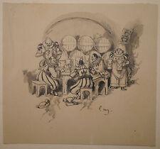 Petit Dessin Ancien Lavis Scène de Taverne Buveurs LOUIS MORIN Illustrateur