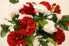 Artificial Christmas Holly and red and white Carnation flowers  4 stems