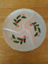 Vintage Christmas divided serving dish, Japan, 3 section, 7.5""