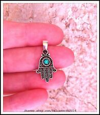 Sterling Silver Opal HAMSA PENDANT Evil Eye Protection Lucky Kabbalah Necklace