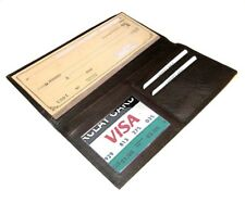 Black Genuine Solid Leather Checkbook Cover Card Organizer Wallet Men Lady