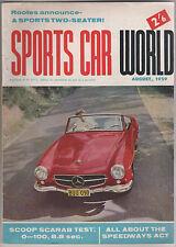 Sports Car World 1959 Aug Scarab MGA  Zagato AJS Sunbeam Alpine Aston Martin VW