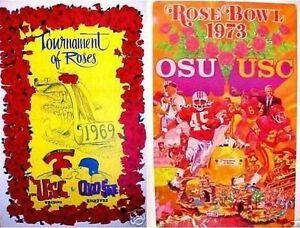 (2) OHIO STATE UNIVERSITY NATIONAL CHAMPION VINTAGE 1969+1973 ROSE BOWL POSTERS
