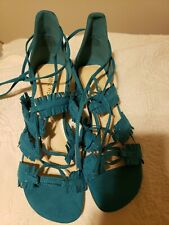 Nine West Ruby4You Ghillie Sandals Women Size 8 Turquoise Adjustable lace close