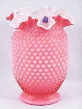 "Fenton Art Glass CRANBERRY HOBNAIL Ruffled 8"" Vase - Sticker"