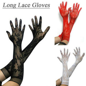 Ladies Mesh Stretchy Floral Bride Lace Gloves Gothic Steampunk Fancy Dress Xmas