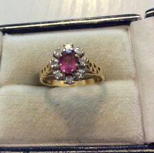 Stunning Ladies Full Hallmarked 18 Carat Gold Pink Topaz & Diamond Ring - K