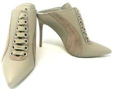 Puma X Fenty by Rihanna Beige Lace-Up Leather Mule Sneaker Heel Shoes Size US 9